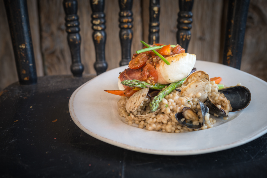 Proscuitto Wrapped Halibut with Smoked Balsamic Tomatoes, PEI Mussel and PEI Quahaug Barely Risotto and Roasted Honey Vegetables, Blue Mussel Cafe (2017)