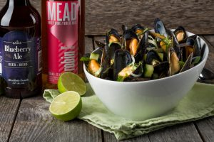 Blueberry Ale, Red Onion and Lime Steamed PEI Mussels