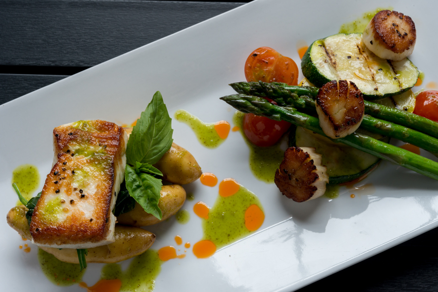 Seared PEI Halibut and PEI Scallops - Peakes Quay