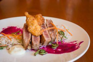Blue FinTuna Steak, Red Water Rustic Grille